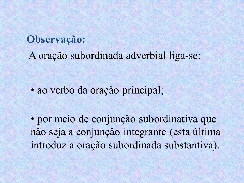 Observação:A oração subordinada adverbial liga-se: ao verbo da oração principal;