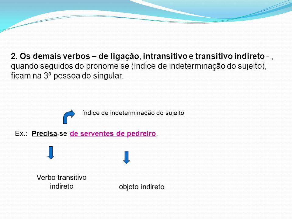 2. Os demais verbos – de ligação, intransitivo e transitivo indireto - , quando seguidos do pronome se (índice de indeterminação do sujeito), ficam na 3ª pessoa do singular.
