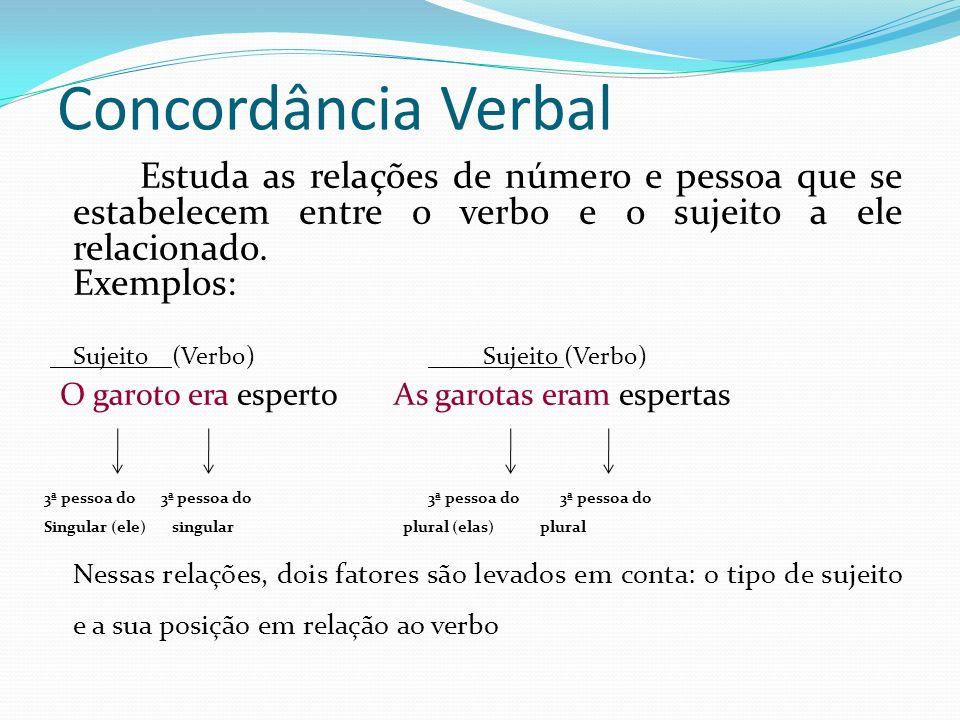 Concordância Verbal Exemplos: Sujeito (Verbo) Sujeito (Verbo)