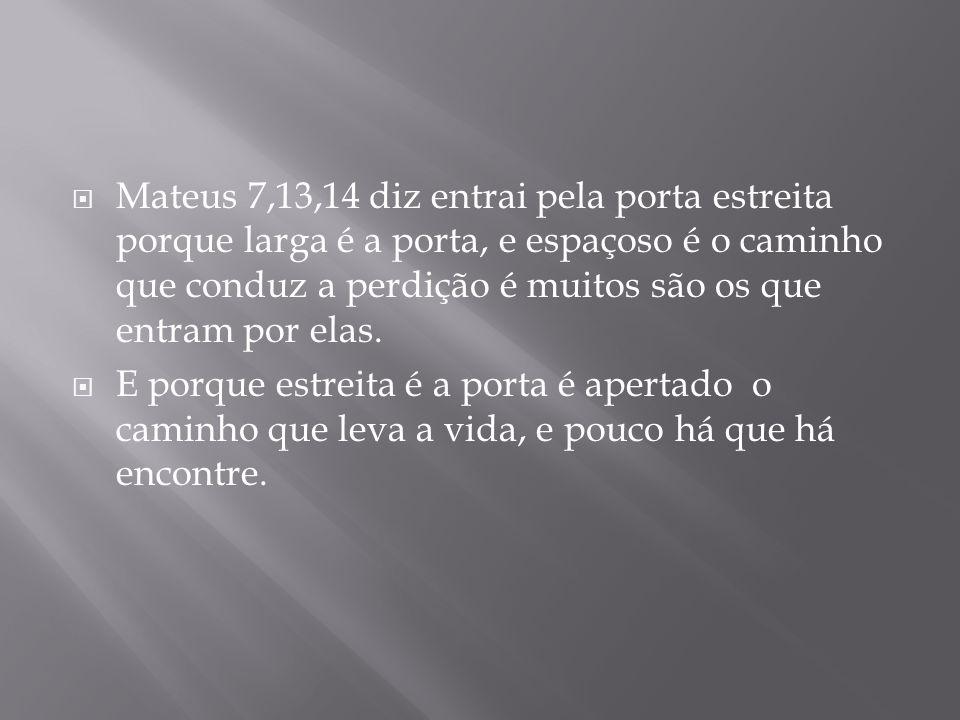 Mateus 7,13,14 diz entrai pela porta estreita porque larga é a porta, e espaçoso é o caminho que conduz a perdição é muitos são os que entram por elas.