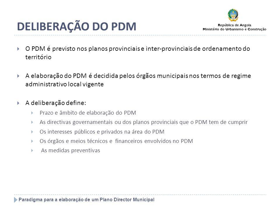 DELIBERAÇÃO DO PDM O PDM é previsto nos planos provinciais e inter-provinciais de ordenamento do território.