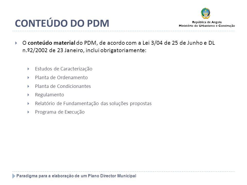 CONTEÚDO DO PDM O conteúdo material do PDM, de acordo com a Lei 3/04 de 25 de Junho e DL n.º2/2002 de 23 Janeiro, inclui obrigatoriamente: