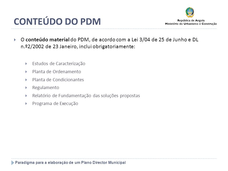 CONTEÚDO DO PDMO conteúdo material do PDM, de acordo com a Lei 3/04 de 25 de Junho e DL n.º2/2002 de 23 Janeiro, inclui obrigatoriamente: