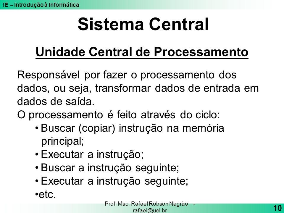 Sistema Central Unidade Central de Processamento