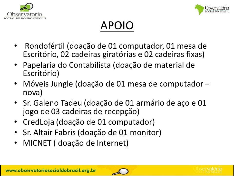 APOIO Rondofértil (doação de 01 computador, 01 mesa de Escritório, 02 cadeiras giratórias e 02 cadeiras fixas)