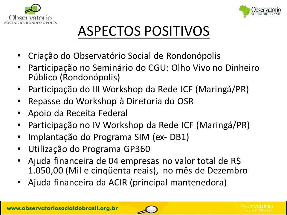 ASPECTOS POSITIVOS Criação do Observatório Social de Rondonópolis
