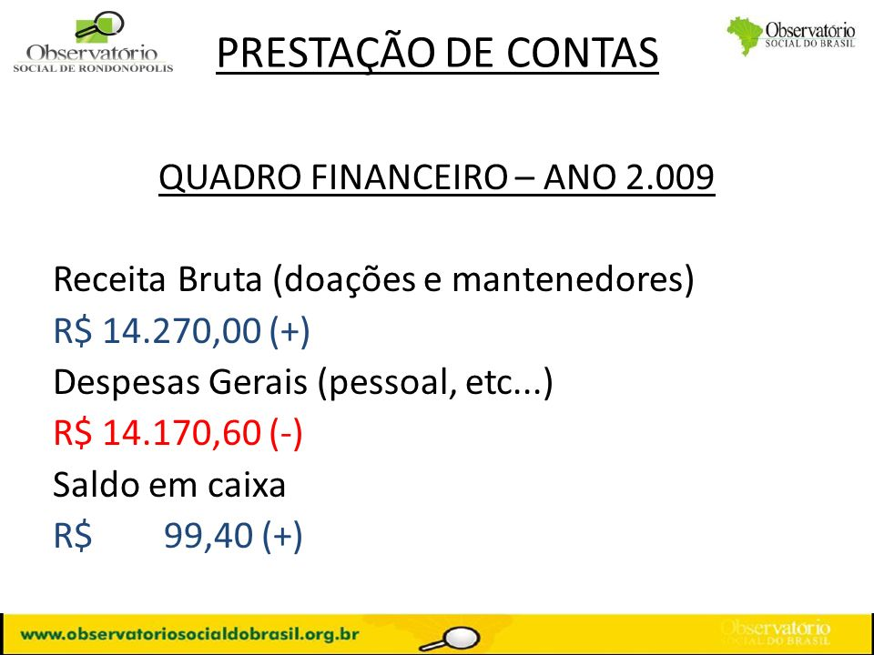 QUADRO FINANCEIRO – ANO 2.009