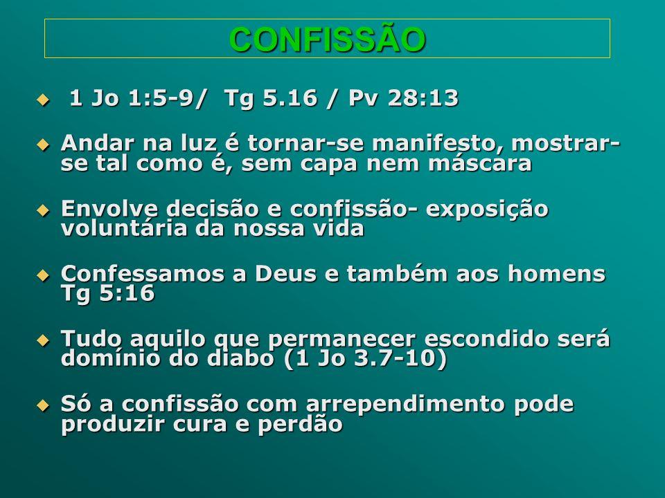 CONFISSÃO 1 Jo 1:5-9/ Tg 5.16 / Pv 28:13