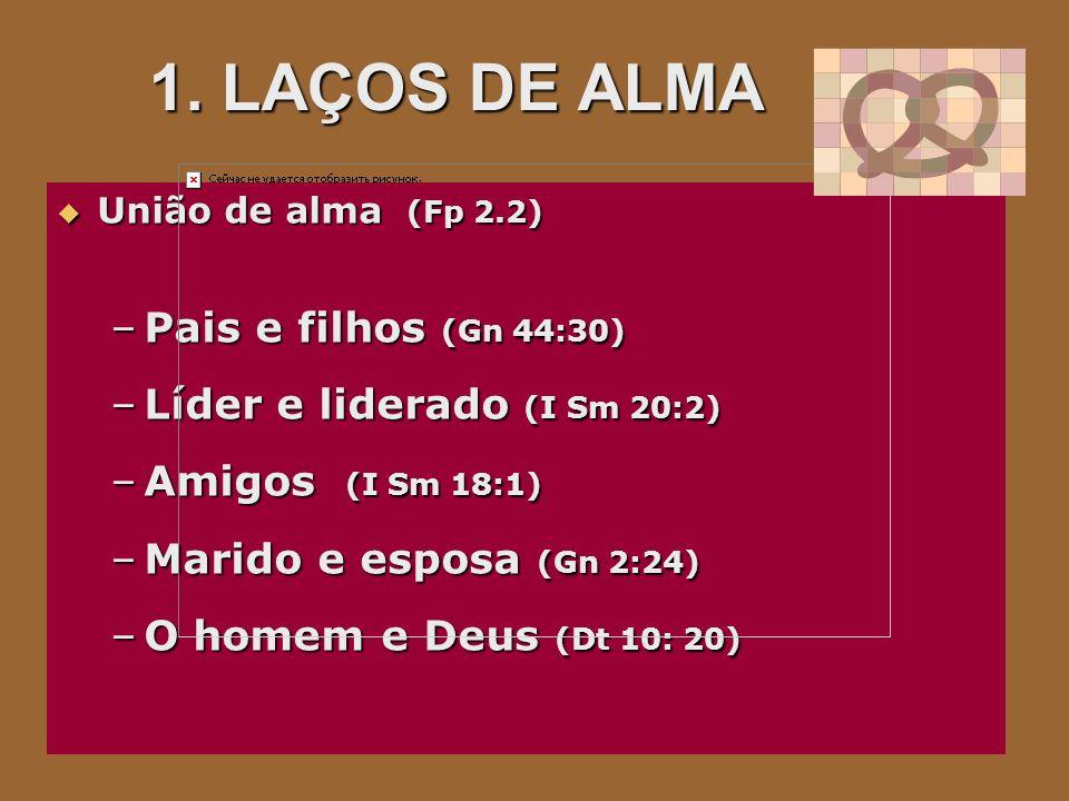 1. LAÇOS DE ALMA Pais e filhos (Gn 44:30) Líder e liderado (I Sm 20:2)