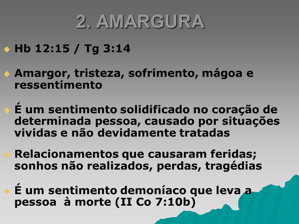 2. AMARGURA Hb 12:15 / Tg 3:14. Amargor, tristeza, sofrimento, mágoa e ressentimento.
