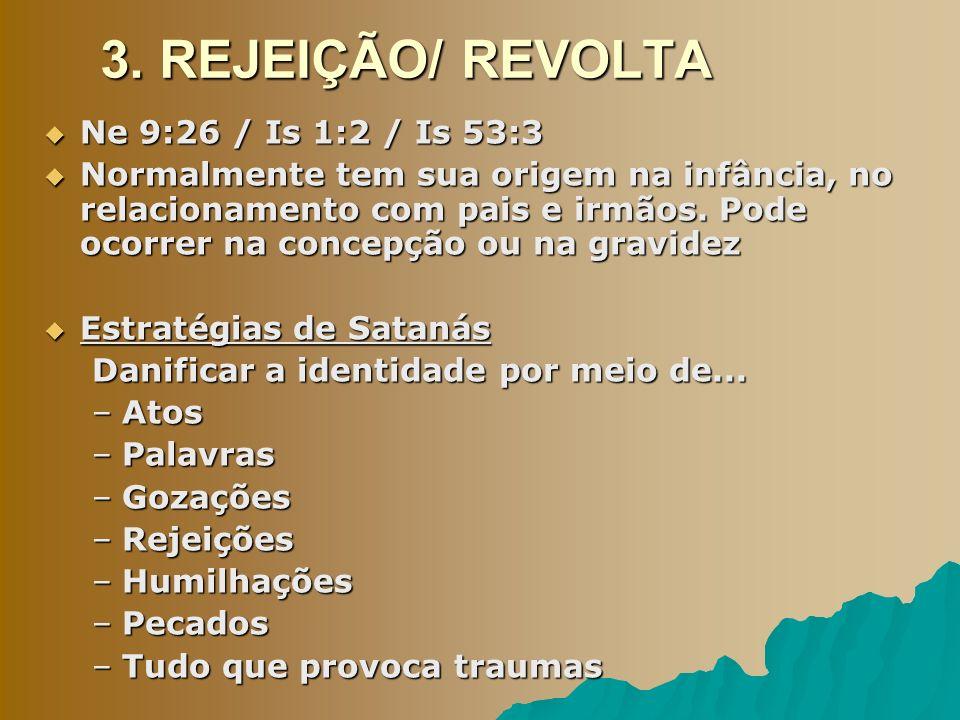 3. REJEIÇÃO/ REVOLTA Ne 9:26 / Is 1:2 / Is 53:3