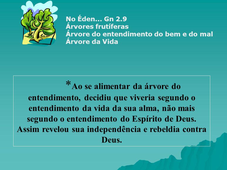No Éden... Gn 2.9 Árvores frutíferas. Árvore do entendimento do bem e do mal. Árvore da Vida.