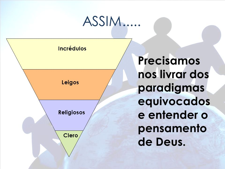 ASSIM..... Incrédulos. Precisamos nos livrar dos paradigmas equivocados e entender o pensamento de Deus.