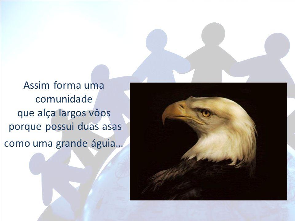 Assim forma uma comunidade que alça largos vôos porque possui duas asas como uma grande águia…