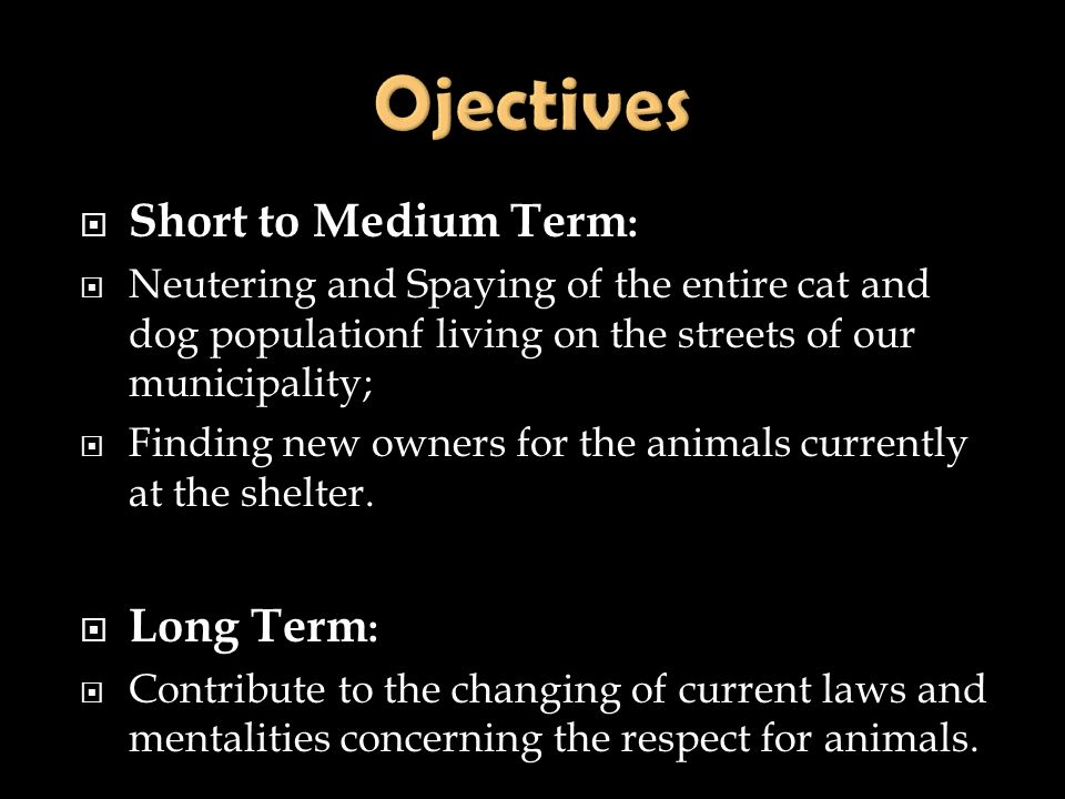 Ojectives Short to Medium Term: Long Term: