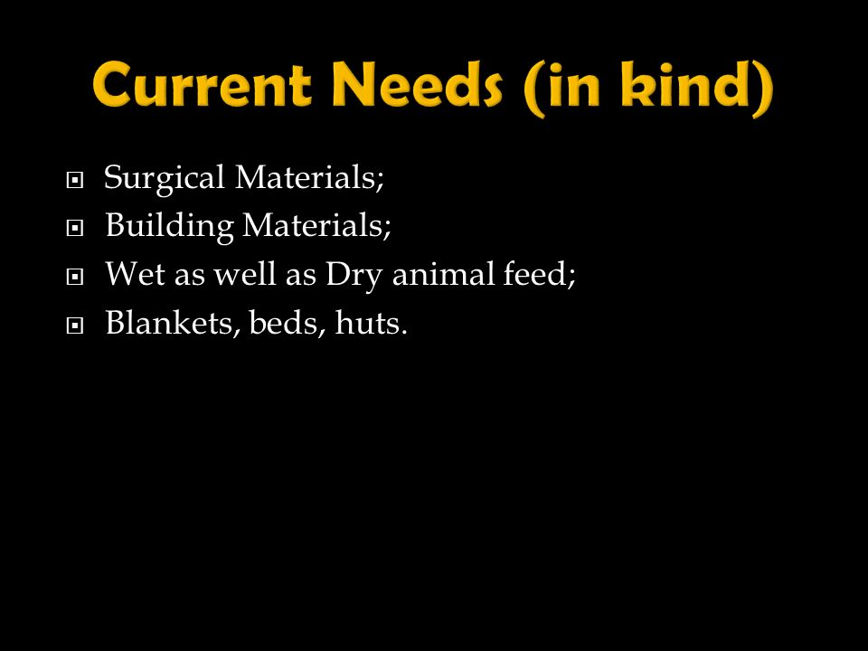 Current Needs (in kind)
