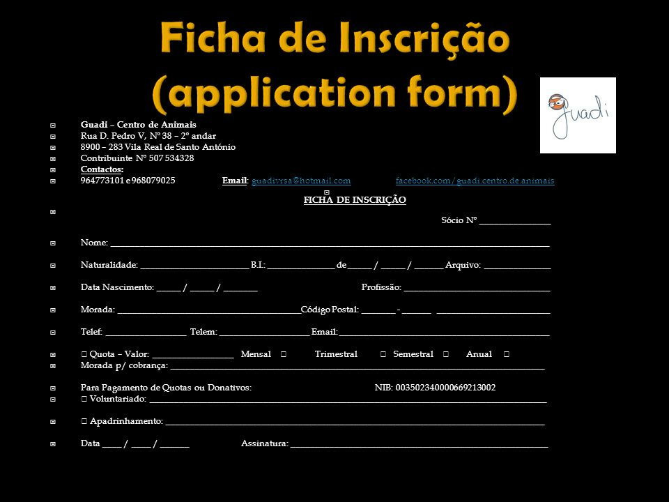 Ficha de Inscrição (application form)