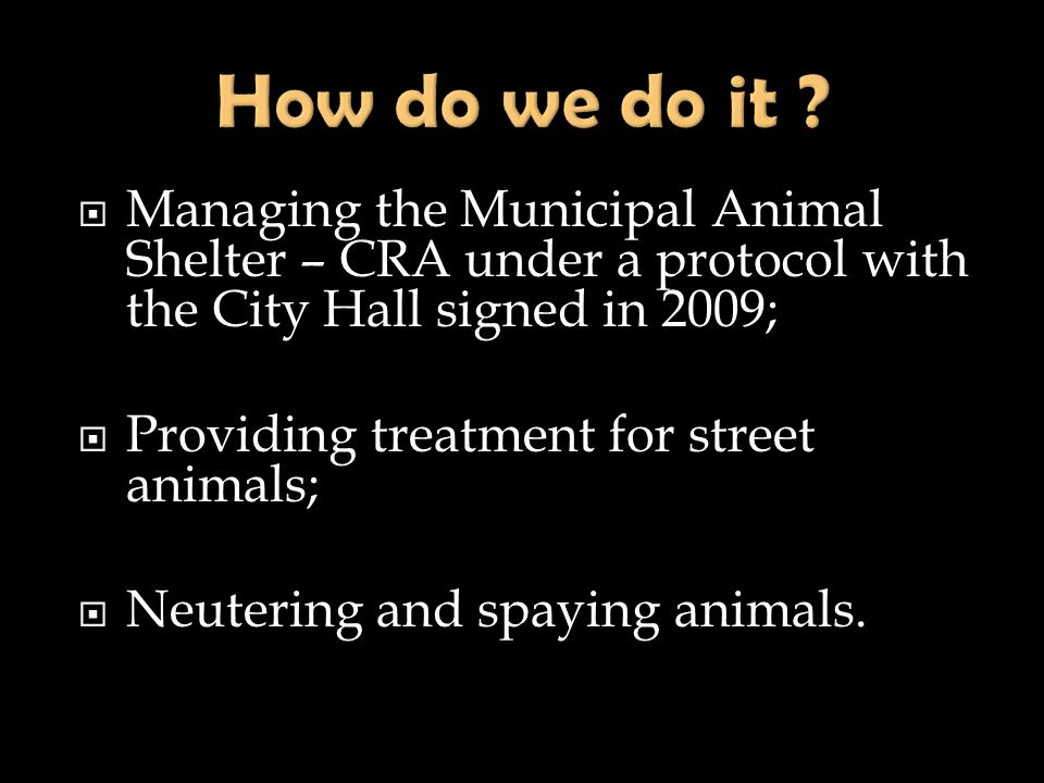 How do we do it Managing the Municipal Animal Shelter – CRA under a protocol with the City Hall signed in 2009;