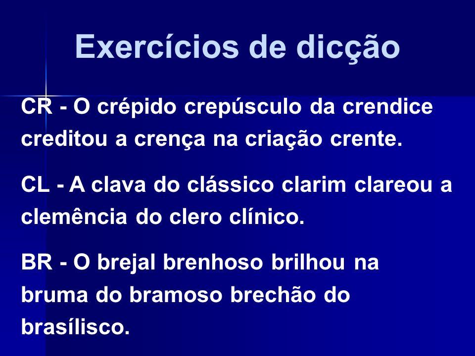 Exercícios de dicçãoCR - O crépido crepúsculo da crendice creditou a crença na criação crente.