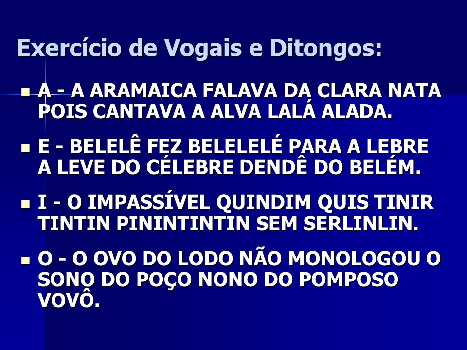 Exercício de Vogais e Ditongos: