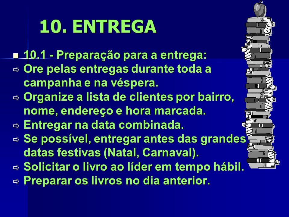 10. ENTREGA 10.1 - Preparação para a entrega: