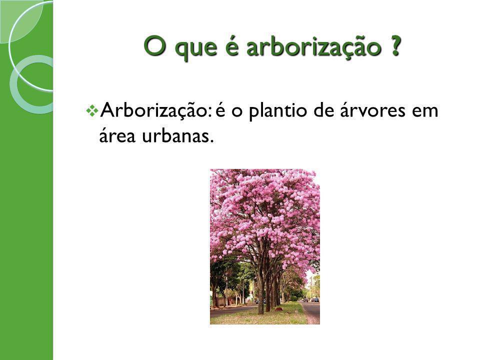 O que é arborização Arborização: é o plantio de árvores em área urbanas.