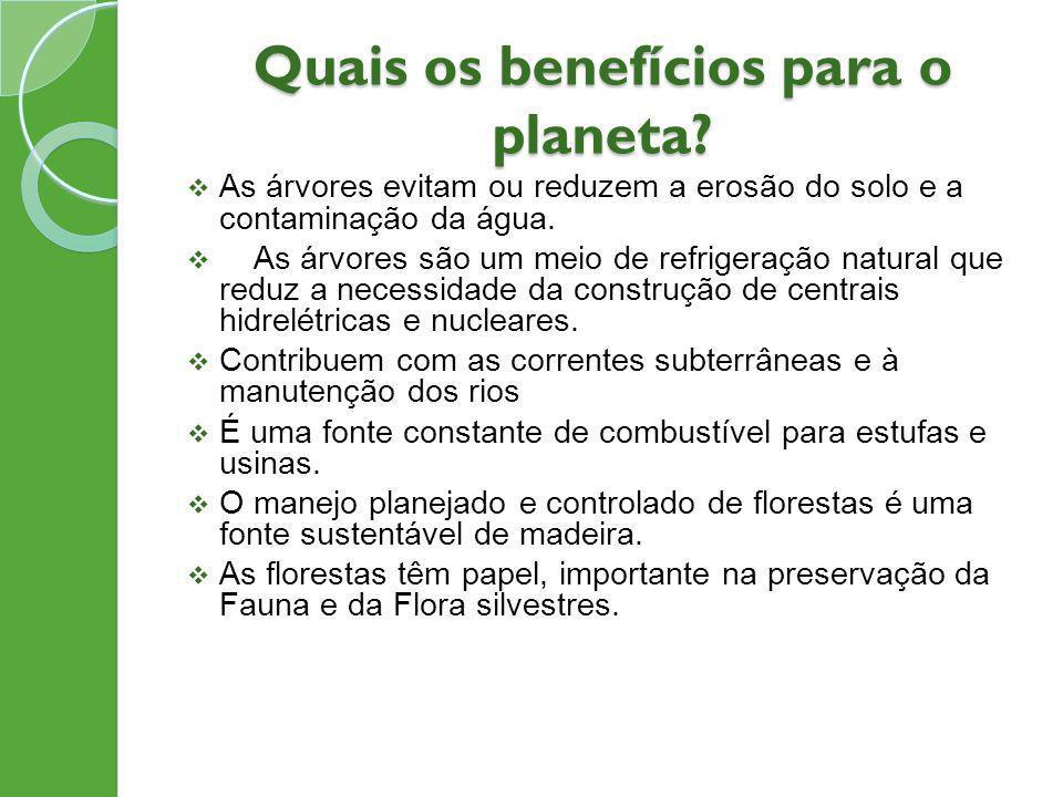 Quais os benefícios para o planeta
