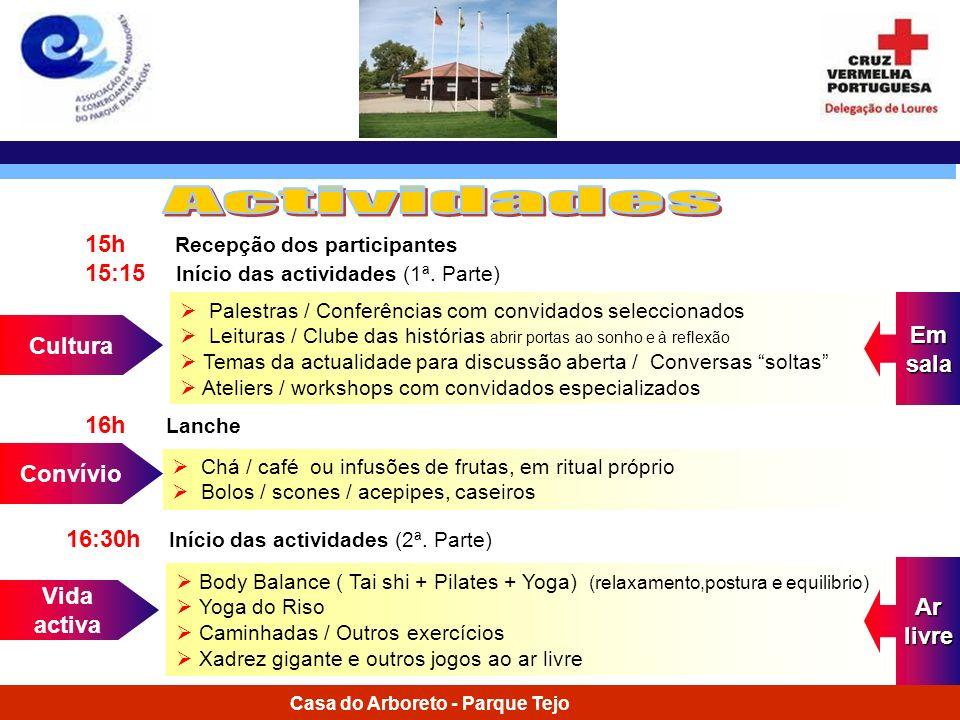 Actividades 15h Recepção dos participantes