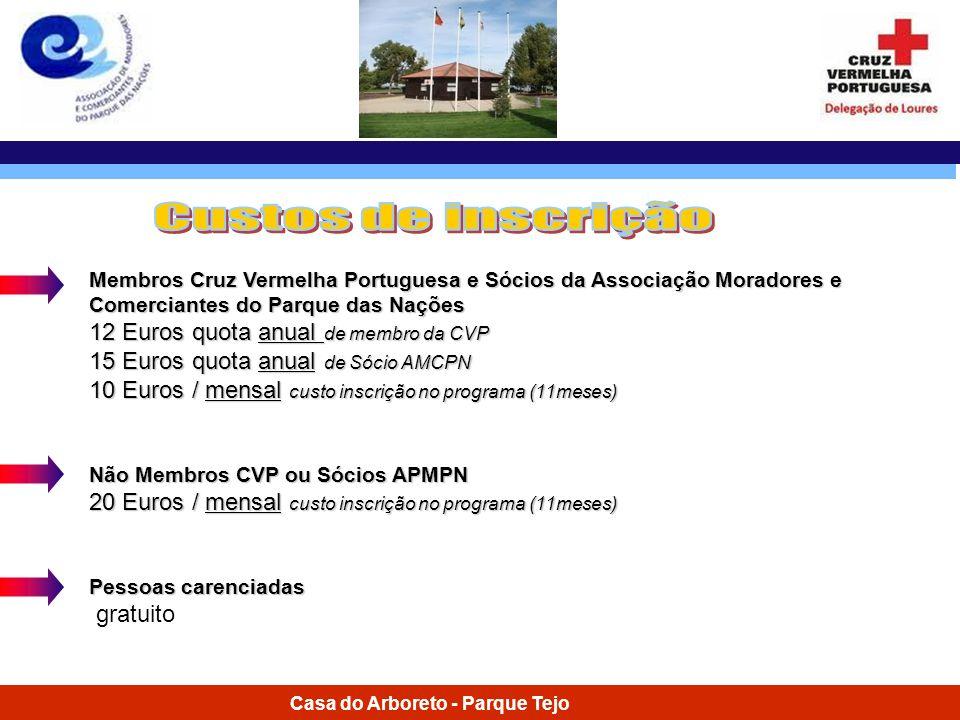 Custos de inscrição 12 Euros quota anual de membro da CVP