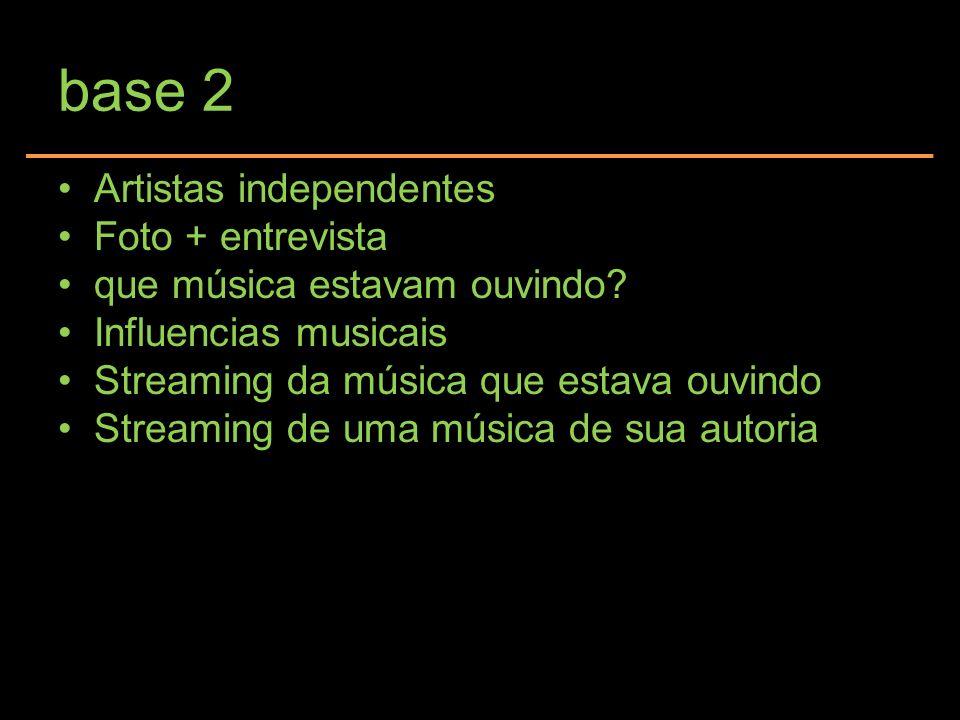 base 2 Artistas independentes Foto + entrevista