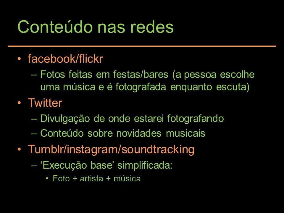 Conteúdo nas redes facebook/flickr Twitter