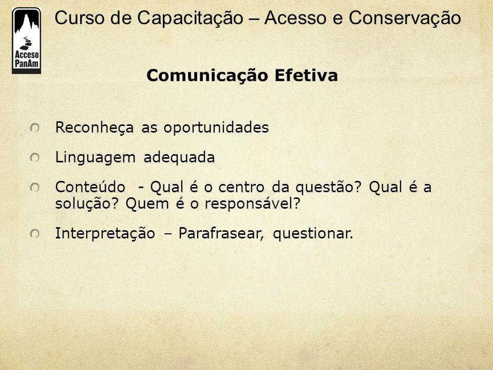Comunicação Efetiva Reconheça as oportunidades Linguagem adequada