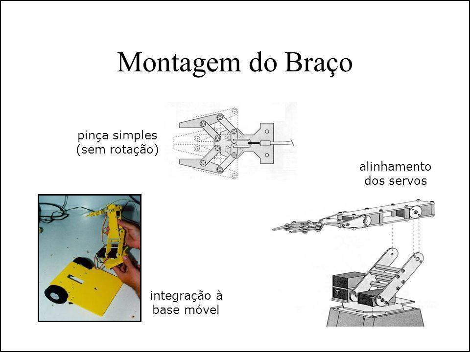 Montagem do Braço pinça simples (sem rotação) alinhamento dos servos