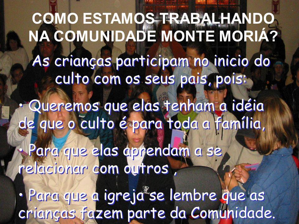 COMO ESTAMOS TRABALHANDO NA COMUNIDADE MONTE MORIÁ