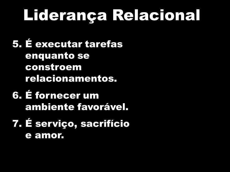 Liderança RelacionalÉ executar tarefas enquanto se constroem relacionamentos. É fornecer um ambiente favorável.