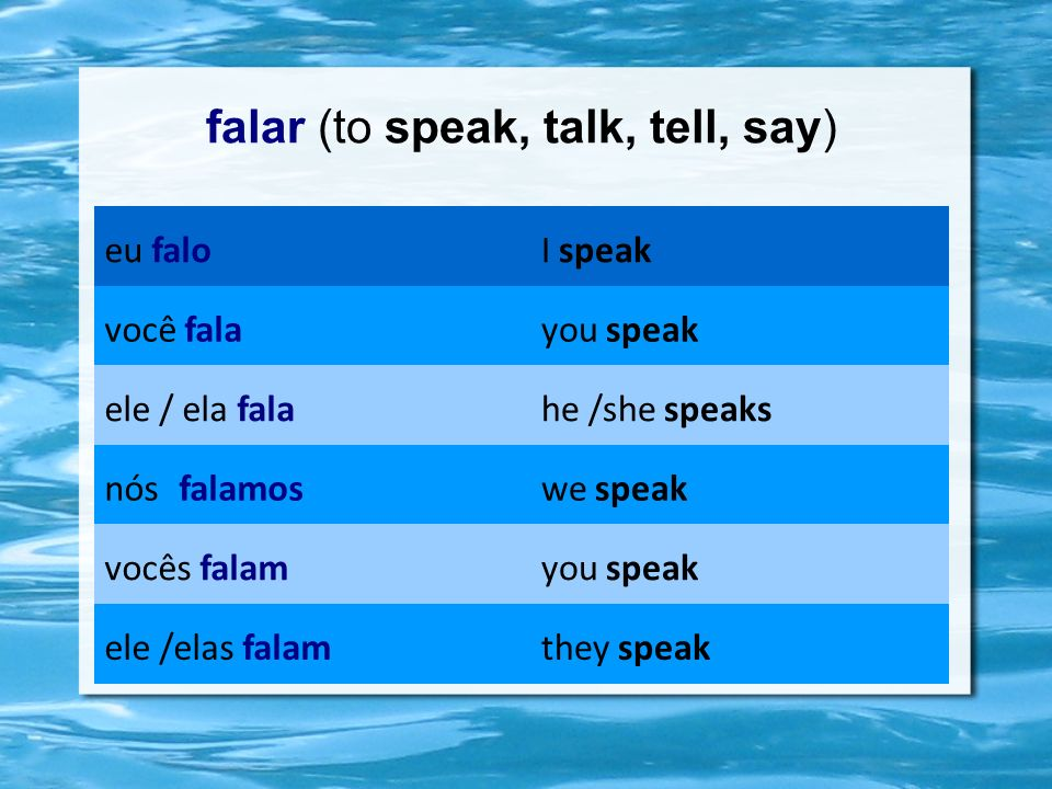 falar (to speak, talk, tell, say)