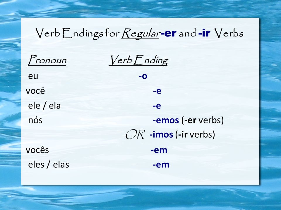 Verb Endings for Regular -er and -ir Verbs