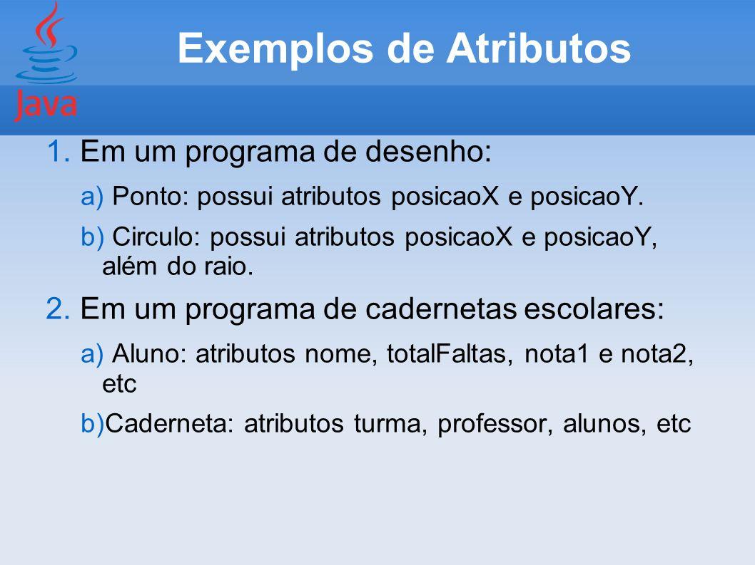 Exemplos de Atributos Em um programa de desenho: