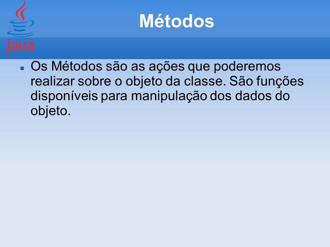 MétodosOs Métodos são as ações que poderemos realizar sobre o objeto da classe.
