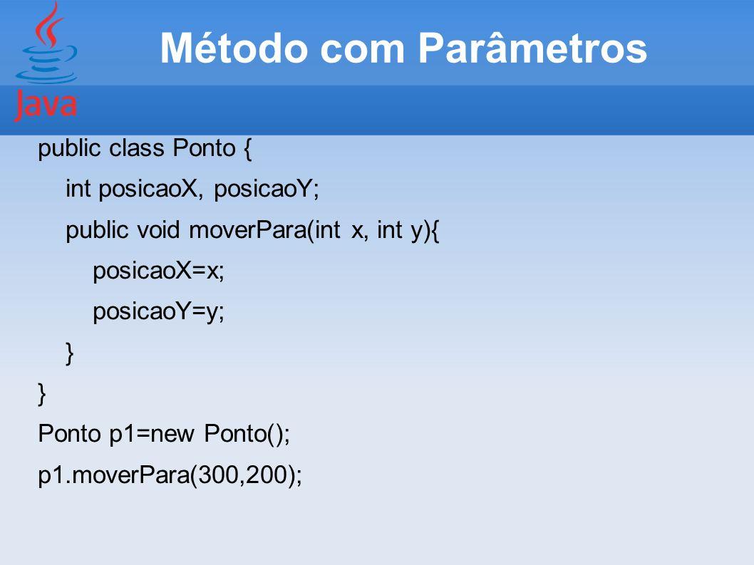 Método com Parâmetros public class Ponto { int posicaoX, posicaoY;
