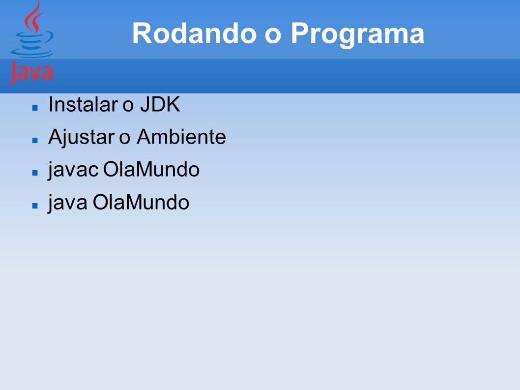 Rodando o Programa Instalar o JDK Ajustar o Ambiente javac OlaMundo