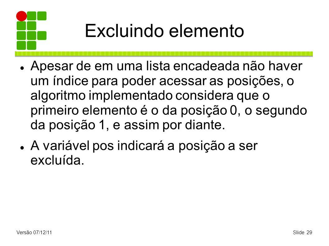 Excluindo elemento
