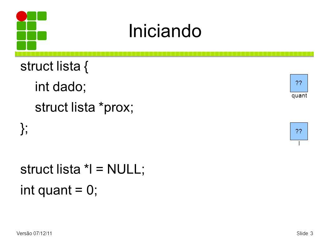 Iniciando struct lista { int dado; struct lista *prox; };