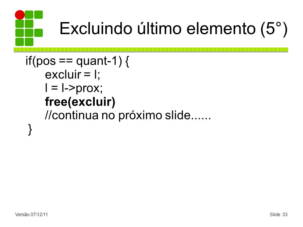 Excluindo último elemento (5°)