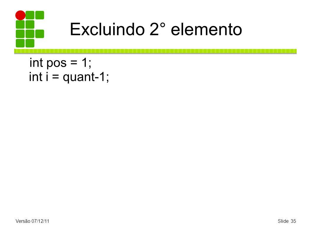 Excluindo 2° elemento int pos = 1; int i = quant-1; Versão 07/12/11