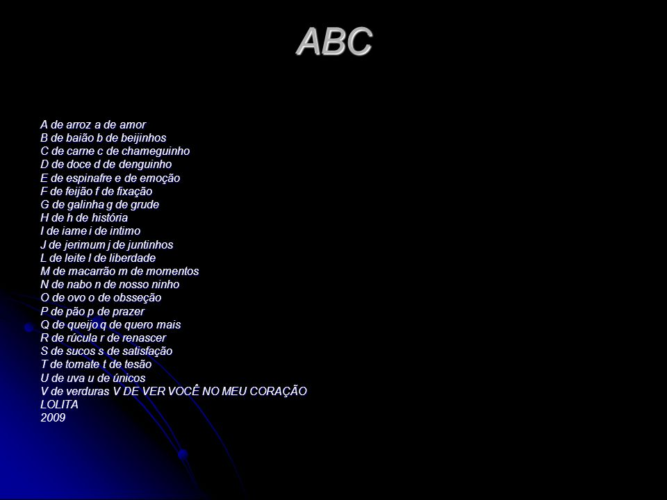 ABC A de arroz a de amor B de baião b de beijinhos
