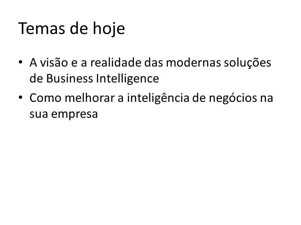 Temas de hoje A visão e a realidade das modernas soluções de Business Intelligence.