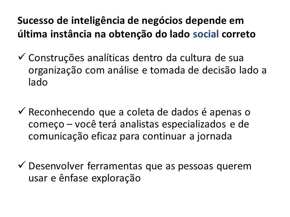 Sucesso de inteligência de negócios depende em última instância na obtenção do lado social correto