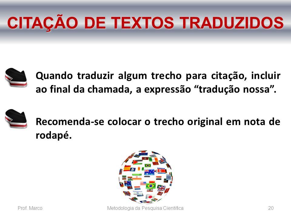 CITAÇÃO DE TEXTOS TRADUZIDOS