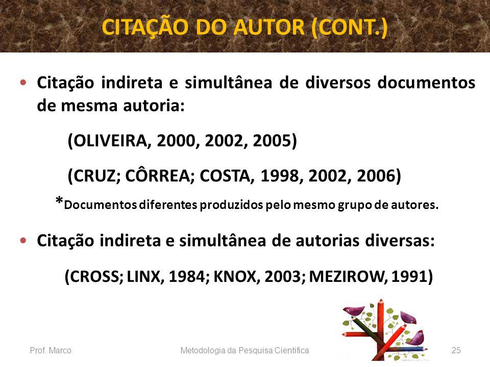 CITAÇÃO DO AUTOR (CONT.)